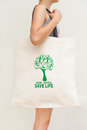 Simple flax eco bag Royalty Free Stock Image