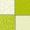 Simple floral light green and white seamless patterns set. Royalty Free Stock Photo