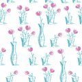 Simple floral seamless pattern with hand drawn pink flowers.