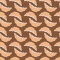 Simple food seamless pattern with orange croiisants stylized silhouettes. Flat delicious dessert ornament on brown background