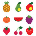 Simple fruits set Royalty Free Stock Photos