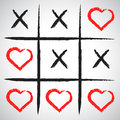 Simple game - X-O game.Hand drawn tic-tac-toe elements.Happy Val