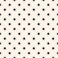 Simple geometric black and white vector seamless pattern with tiny flowers