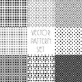 Simple geometric patterns. Seamless repeating vector collection. Black and white texture set with rhombus.