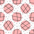 Simple geometric seamless pattern. Polka dot and circles with lines drawn by hand.