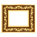 Simple gold frame on brown background curls and waves Stock Photo