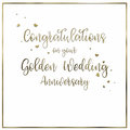 Simple, Golden Wedding  Anniversary Card Royalty Free Stock Photo