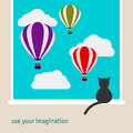 Simple graphic illustration with black cat sitting on window and watching as the bright hot air balloons floating in the sky Royalty Free Stock Photo