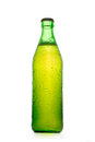 Simple green beer bottle with water drops Royalty Free Stock Photo