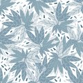 Simple green leaves seamless pattern on white background
