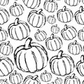 Simple hand drawn doodle pumpkin seamless pattern eps10 Royalty Free Stock Photo
