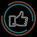 Simple Hand Thumb Up Thin Line Vector Icon