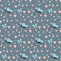 Simple heart sharp butterfly vector seamless pattern background pink color card beautiful celebrate bright emoticon Royalty Free Stock Photo
