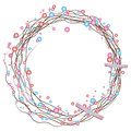 Simple holiday wreath of dried twigs and colored pearls with a bow Royalty Free Stock Photo