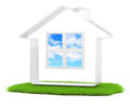 Simple house icon on lawn white d rendered image Royalty Free Stock Photos