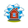 Simple house vector illustration, countryside idea. Abstract ima Royalty Free Stock Photo