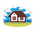 Simple house vector illustration, countryside idea. Abstract Royalty Free Stock Photo