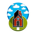 Simple house vector illustration with pathway leading to it. Royalty Free Stock Photo