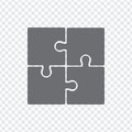Simple icon puzzles in grey on a transparent background. Simple icon puzzle of the four elements.