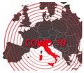 Simple illustration of italy map with coronavirus carantine, covid-19, 2019-nCoV, coronavirus pandemic epicenter