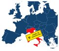 Simple illustration of italy map with coronavirus carantine warning sign, covid-19, 2019-nCoV, coronavirus pandemic
