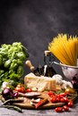 Simple ingredients for cooking spaghetti Royalty Free Stock Photo