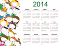 Simple kids calendar and colorful on year with happy Royalty Free Stock Photos
