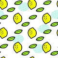 Simple lemons and leaves on white, vector