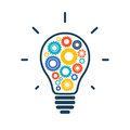 Simple light bulb conceptual icon with colorful gears inside vector illustration Royalty Free Stock Image