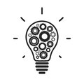 Simple light bulb conceptual icon with gears inside vector illustration Royalty Free Stock Images