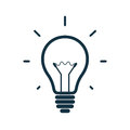 Simple light bulb icon vector illustration isolated on white background Royalty Free Stock Photos