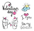 Simple line drawing. Ice Cream character holding in his hand a cherry. Valentines day. I love you. Be my Valentine. Lettering Royalty Free Stock Photo
