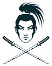 Simple line illustration of a samurai warrior and two crossed katana swords Stock Images