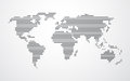 Simple map of the world made up of black stripes Royalty Free Stock Photo