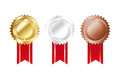 Simple medals for anniversaries in three colors Royalty Free Stock Image