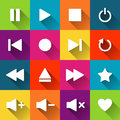 Simple media player icons on the colored tiles Royalty Free Stock Photo