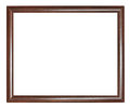 Simple narrow dark brown wooden picture frame with cut out canvas isolated on white background Royalty Free Stock Images