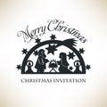 Simple Nativity scene. Christmas invitation Royalty Free Stock Photo