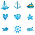 Simple nautical watercolor icons: anchor, ship, star fish and shell. Vector illustrations isolated on white background.