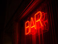 Simple neon bar sign window night Royalty Free Stock Images