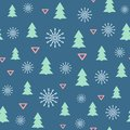 Simple new year seamless pattern with Christmas trees, snowflakes and triangles. Vector illustration.