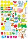 Simple objects for kindergarten Royalty Free Stock Image
