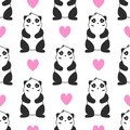 Simple panda face pattern on white background with pink hearts
