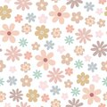 Simple pastel-colored flower seamless pattern, flat style vector illustration, symbol of spring, cozy home Royalty Free Stock Photo
