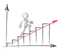 Simple people steady growth chart sparse vector illustration of a of a generic cartoon character up an steadily Royalty Free Stock Photography