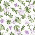 Simple plants pattern. Seamless cute background with flowers and dots. Vector illustration. Template for fashion prints.