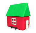 Simple plasticine house white background Stock Photos