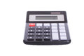 Simple portable calculator isolated on white Royalty Free Stock Photo