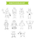 Simple robots doodles set hand drawn vector illustration of elements ten drawn in different poses by hand isolated on white Royalty Free Stock Images