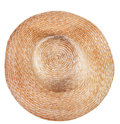 Simple rural straw broad brim hat top view of isolated on white background Royalty Free Stock Photos